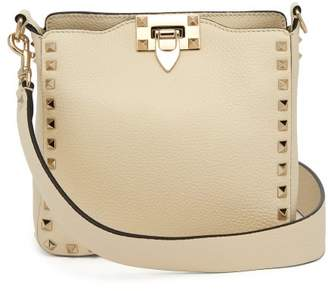 Valentino Rockstud Grained Leather Cross Body Bag - Womens - Ivory
