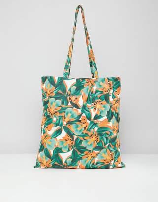 Monki Tropical Print Beach Tote Bag