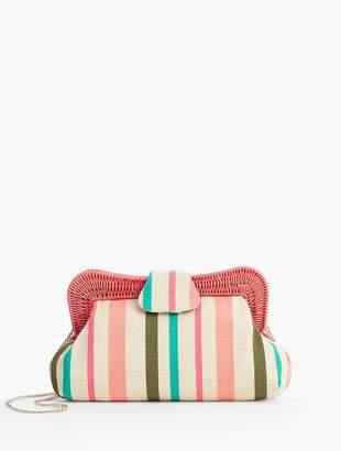 Talbots Yarn-Dye Stripe Wicker-Trim Clutch