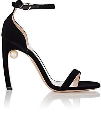 Nicholas Kirkwood Women's Mira Imitation-Pearl Velvet Sandals - Black