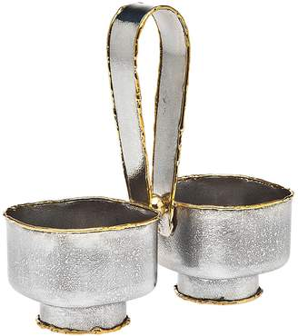 Godinger Golden Frost Handled Open Salt and Pepper/Condiment Server