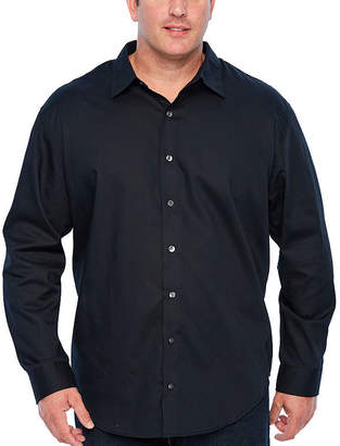 Van Heusen Tall Slim Easy Care Sateen Stripe Woven Mens Long Sleeve Stripe Button-Front Shirt Tall