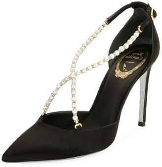Rene Caovilla Pearly Satin Crisscross Pump