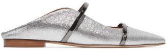 Malone Souliers Maureen Metallic-trimmed Glittered Leather Point-toe Flats - Silver