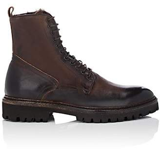 Barneys New York Men's Faux-Shearling-Lined Burnished Leather Boots - Dk. brown