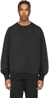 YEEZY Black Boxy Crewneck Sweatshirt $300 thestylecure.com