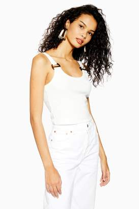 Topshop TALL Buckle Ribbed Crop Cami