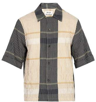 Acne Studios Contrast Panel Checked Cotton Blend Shirt - Mens - Navy