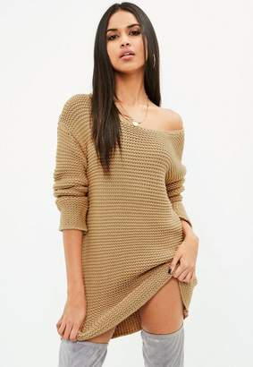 Missguided Brown Chunky Oversized Knit Sweater Dress
