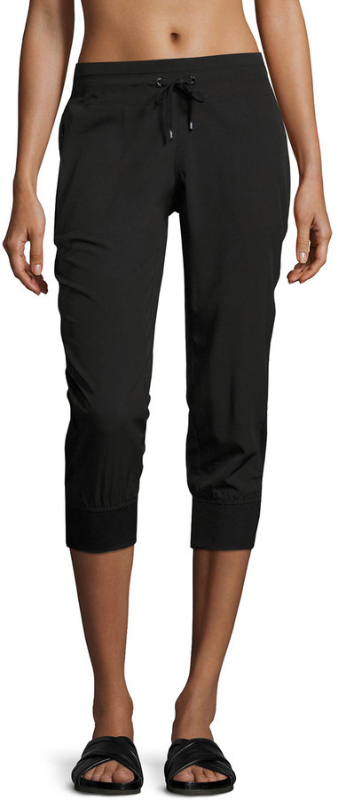 Marc NY Performance Mesh Side-Seam Cropped Pants, Black