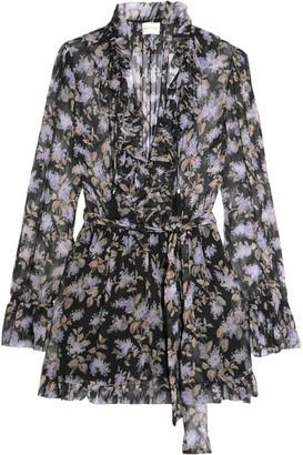 Zimmermann - Ruffled Floral-print Silk-georgette Playsuit - Black $630 thestylecure.com