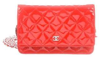 Chanel Patent Leather Quilted Wallet On Chain