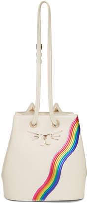 Charlotte Olympia Off-White Rainbow Feline Bucket Bag