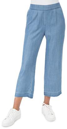 Bobeau B Collection by Leslie Chambray Wide-Leg Crop Pants
