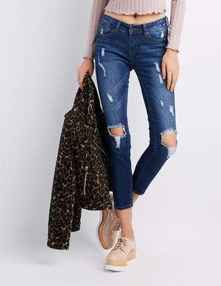 Charlotte Russe Destroyed Mid-Rise Skinny Jeans
