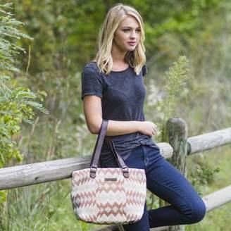 Ashton & Willow Creme White Southwestern Handbags Romy Shoulder Tote Cotton Pewter Hardware Textured Geometric Shoulder Bag