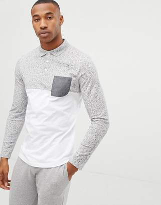 Asos DESIGN long sleeve polo shirt with contrast yoke and pocket in interest fabric in white
