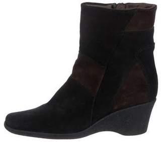 Aquatalia Suede Patchwork Wedge Boots