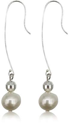 Eliza J Bautista Pearl & Sterling Silver Disco Ball Dangling Earrings