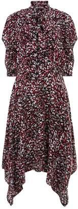 Roberto Cavalli Silk Pussybow Midi Dress