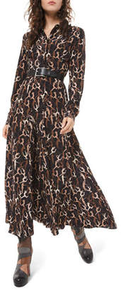 Michael Kors Dancer-Print Crushed Georgette Shirtdress
