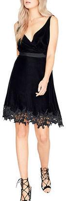 Miss Selfridge Velvet Lace Sleeveless A-Line Dress $125 thestylecure.com