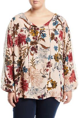 Kerrick Floral-Print Gauze Crochet-Trim Blouse, Plus Size