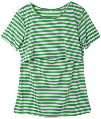 Multitrust Women Stripe Print Short Sleeve Breastfeeding Maternity Tops Nursing T Shirts (XXL, )