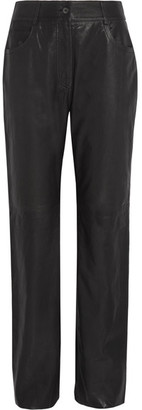 McQ Alexander McQueen - Leather Straight-leg Pants - Black $995 thestylecure.com