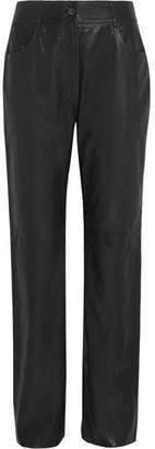 McQ Alexander McQueen - Leather Straight-leg Pants - Black $995 thestylecure.com