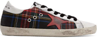 Golden Goose Superstar Tartan Tweed And Distressed Leather Sneakers - Red