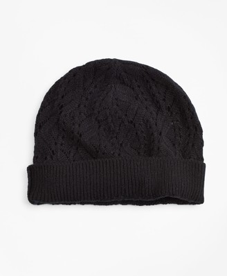 Brooks Brothers Pointelle Cable-Knit Cashmere Hat
