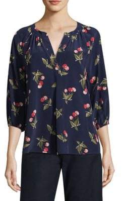 Joie Silk Cherry Print Blouse