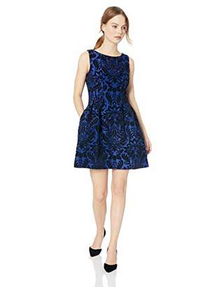 Gabby Skye Women's Petite Sleeveless Round Neck Scuba Fit and Flare Dress