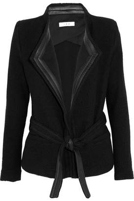 IRO Leather-trimmed Wool-blend Bouclé Jacket - Black
