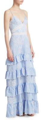 Nicholas Embroidered Stripe Ruffle Dress