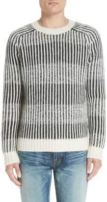 Saint Laurent Contrast Rib Wool & Alpaca Blend Sweater
