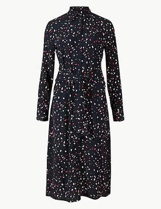 M&S Collection Printed Long Sleeve Shirt Midi Dress