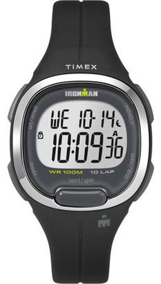 Timex Women's Ironman Transit Mid-Size Black/Silver-Tone Watch, Resin Strap