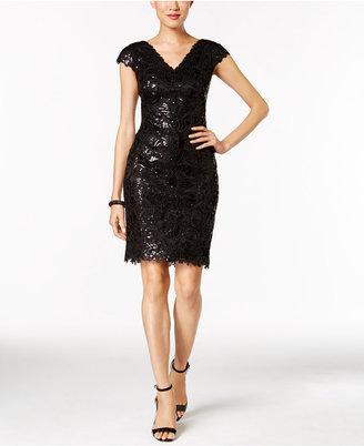 Tadashi Shoji V-Neck Sequined Cocktail Dress $318 thestylecure.com