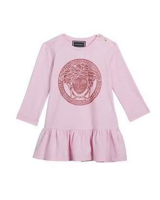 Versace Girl's Long-Sleeve Dress w/ Glitter Medusa Logo, Size 12M-3