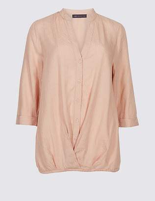 Marks and Spencer Modal Rich Striped 3/4 Sleeve Blouse