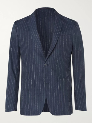 Officine Generale Navy Slim-Fit Unstructured Pinstriped Woven Suit Jacket - Men - Blue