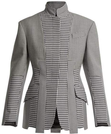 Panelled-houndstooth wool jacket