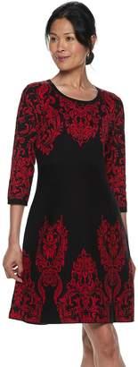 Dana Buchman Women's Scroll Fit & Flare Sweater Dress