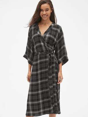 Gap Plaid Tie-Waist Midi Wrap Dress