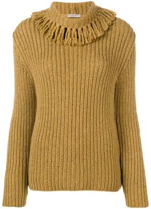 Bottega Veneta fringed collar cashmere jumper