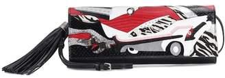 Saint Laurent Snakeskin-trimmed leather clutch