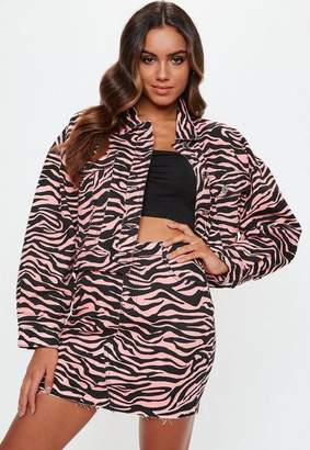 Missguided Petite Pink Zebra Print Denim Skirt