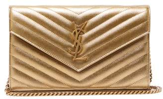 Saint Laurent Kate Metallic Leather Cross Body Bag - Womens - Gold